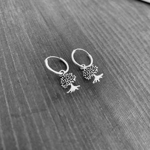 Tree of life earrings silver, hoop earrings